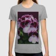 Pink, Purple, Flower Pow… Womens Fitted Tee Athletic Grey SMALL