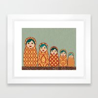 Red and Yellow Matryoshka Nesting Dolls Framed Art Print