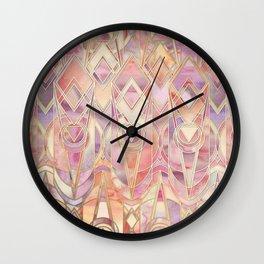 Wall Clock - Glowing Coral and Amethyst Art Deco Pattern - micklyn