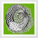 Zentangle Mobius Twist on Sage Green-  to Inspire Creativity and Joy. Art Print