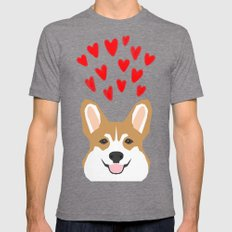 Valentines - Love Corgi  Mens Fitted Tee Tri-Grey SMALL