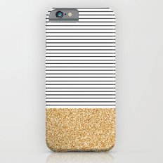 Minimal Gold Glitter Stripes iPhone 6 Slim Case