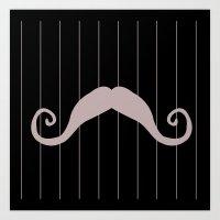 Moustache And Stripes 2 Art Print