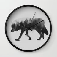 The Wolf (black & White … Wall Clock
