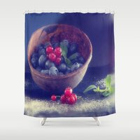Dark blue berries contrasting with bright red berries Shower Curtain