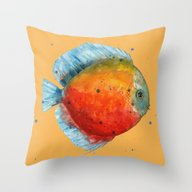 Throw Pillow featuring DISCUS FISH, Discus Cush… by Eastwitching