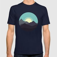 Minimal Mountain Night Mens Fitted Tee Navy SMALL