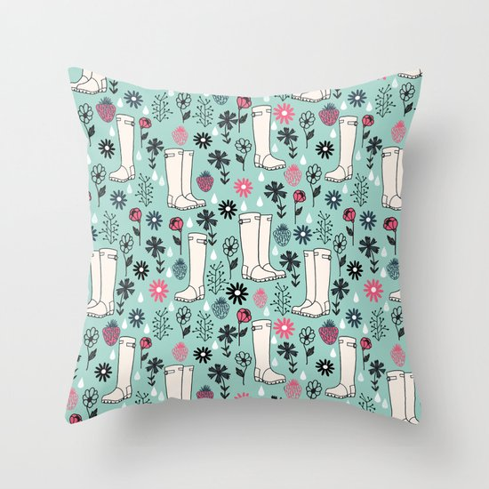 Springtime Wellies by Andrea Lauren Throw Pillow