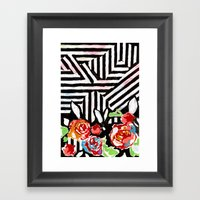 Mountains And Flowers Framed Art Print