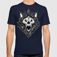 Full Moon Rising Mens Fitted Tee Navy SMALL