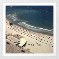 Tel-Aviv beach at summer, high from above, Israel, scaned sx-70 Polaroid Art Print