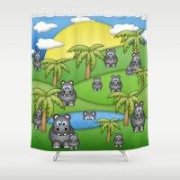 Hippos. Shower Curtain