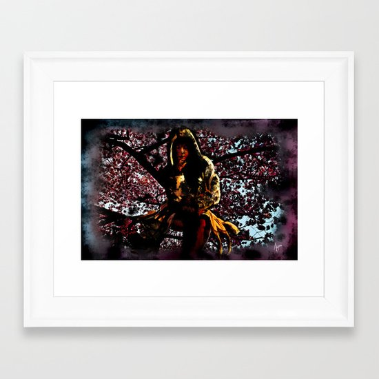 Shadow Mistress In Cherry Blossoms Framed Art Print