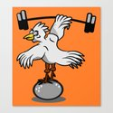 Chicken lifting weights Canvas Print