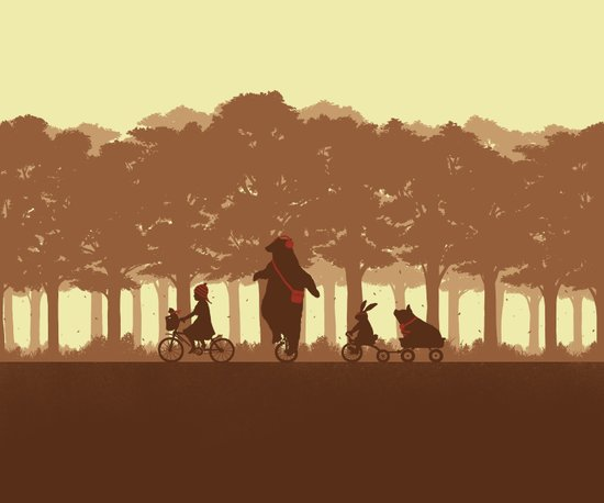 Biking with Friends Art Print