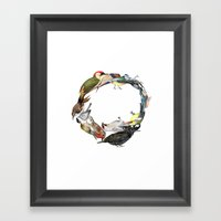 Bird Wreath Framed Art Print