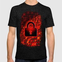 Secure data concept. Mens Fitted Tee Tri-Black SMALL