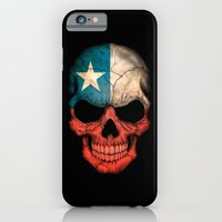 iPhone Cases featuring Dark Skull with Flag of Chile by Jeff Bartels