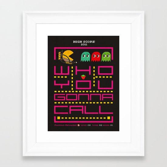 pacman ghostbuster Framed Art Print