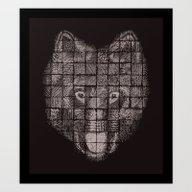 A Patchwork Wolf Art Print