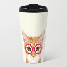 Ginger - Cute cat with glasses hipster cat art for dorm college decor funny cat lady meme Travel Mug