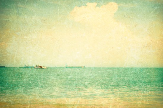 Old sea (vintage textured beach and green sky) Art Print