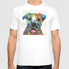 Colorful Dog Pit Bull Ar… Mens Fitted Tee White SMALL