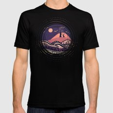 Psychedelic mountains (colour option) SMALL Mens Fitted Tee Black
