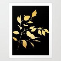 Leaves Gold on Black Art Print