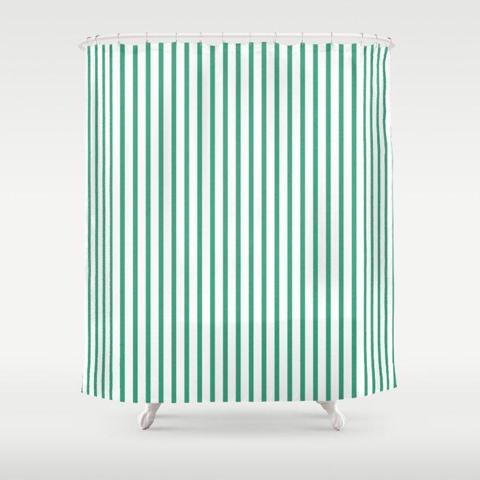 Love Stripes Green And White Shower Curtain By Yasmina
