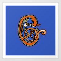 Medieval Blue Squirrel letter C Art Print