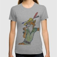 Robin Hood  Womens Fitted Tee Athletic Grey X-LARGE