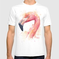 Flamingo Watercolor Pink Bird Mens Fitted Tee White SMALL