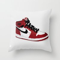 Nike Air Force 1 - Retro - Red & Black & White Throw Pillow