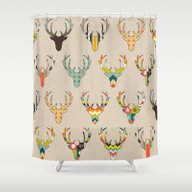 Shower Curtain featuring Retro Deer Head On Linen by Sharon Turner