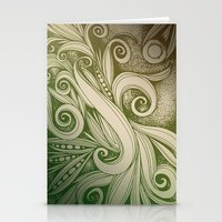 Tangled Curves, Olive Stationery Cards