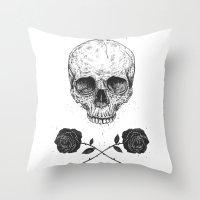 Skull N' Roses Throw Pillow