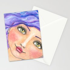 Purple Waves Stationery Cards