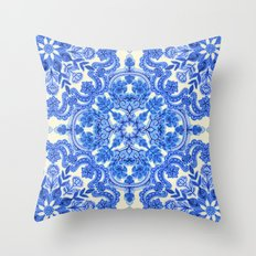 Cobalt Blue & China Whit… Throw Pillow