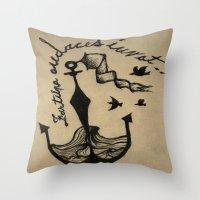Anchor, Navy Birds Throw Pillow