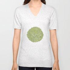 Green Chrysanthemum  Unisex V-Neck