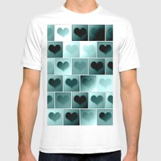 Monochrome hearts pattern SMALL Mens Fitted Tee White