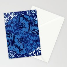 blue floral circle on blue floral Stationery Cards