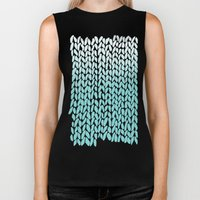 Hand Knitted Ombre Teal Biker Tank