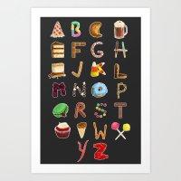 Dessert Alphabet  Art Print