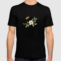 Delicate pattern with flowers and butterflies hips SMALL Black Mens Fitted Tee