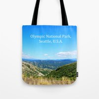 Landscape photography of mountain, blue sky and wild land.  Tote Bag