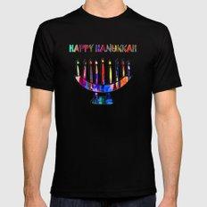 Happy Hanukkah! SMALL Black Mens Fitted Tee