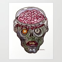 Heads of the Living Dead  Zombies: Remote Zombie Art Print