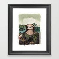 The Mona Sloth  Framed Art Print